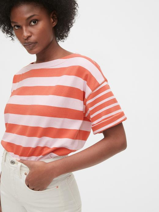 Kadın Turuncu Çizgili Boxy T-Shirt