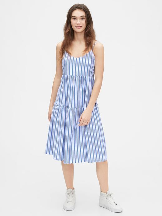Kadın Mavi Çizgili Midi Elbise