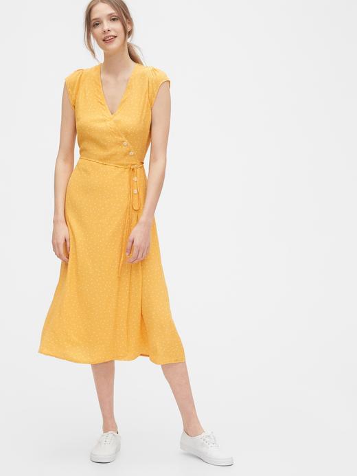 Kadın Sarı Anvelop Midi Elbise
