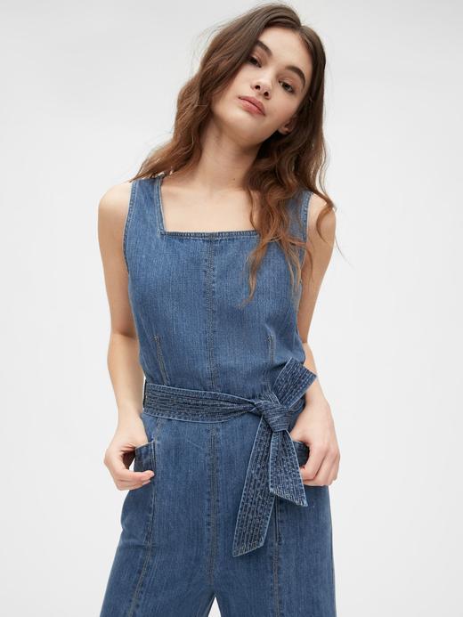Kadın Mavi Wide-Leg Denim Tulum
