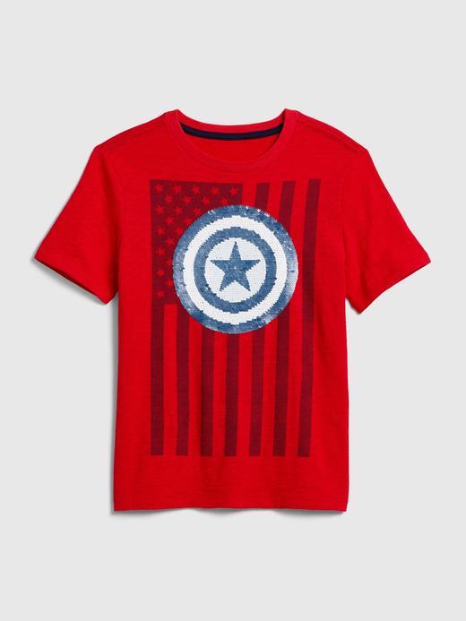 Erkek Çocuk Kırmızı Marvel© Pullu Kısa Kollu T-Shirt
