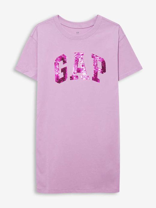 Kız Çocuk Mor Gap Logo Kısa Kollu Elbise