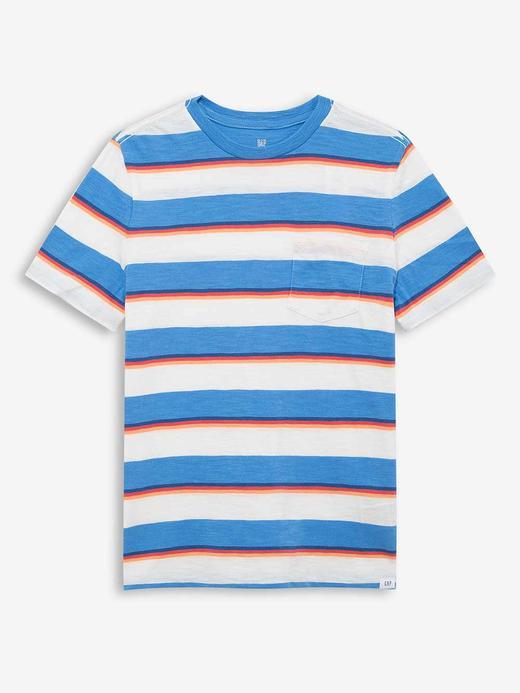 Erkek Çocuk Mavi Çizgili Kısa Kollu T-Shirt
