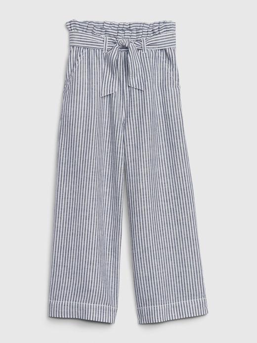 Kız Çocuk Lacivert Paperbag Kemerli Crop Pantolon