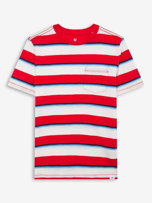 Erkek Çocuk Kırmızı Çizgili Kısa Kollu T-Shirt