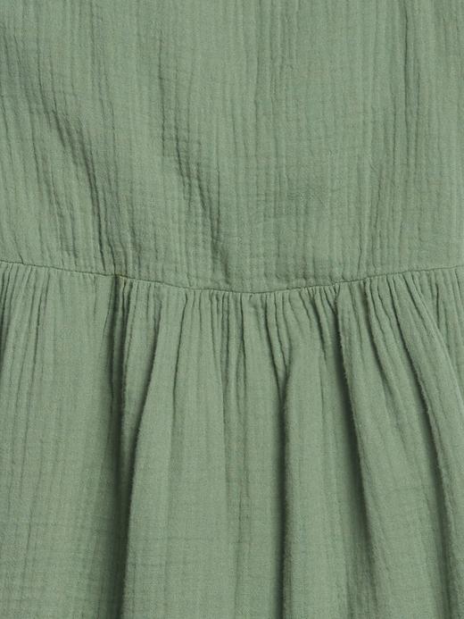 Kız Çocuk Yeşil Askılı Gauze Elbise