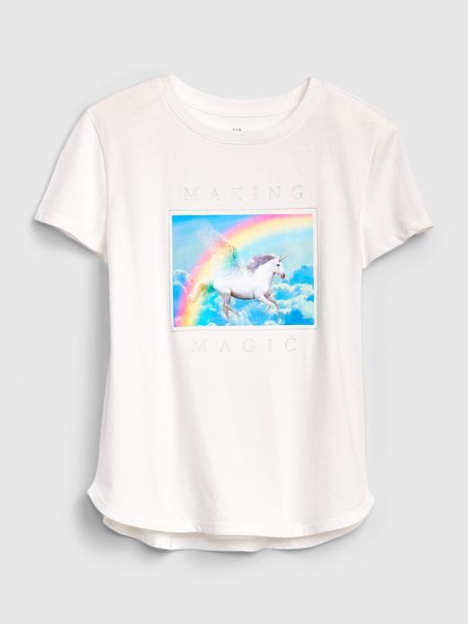 Kız Çocuk Beyaz Interactive Grafik Kısa Kollu T-Shirt