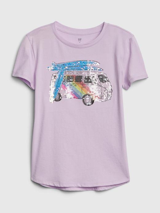 Kız Çocuk Mor Interactive Grafik Kısa Kollu T-Shirt