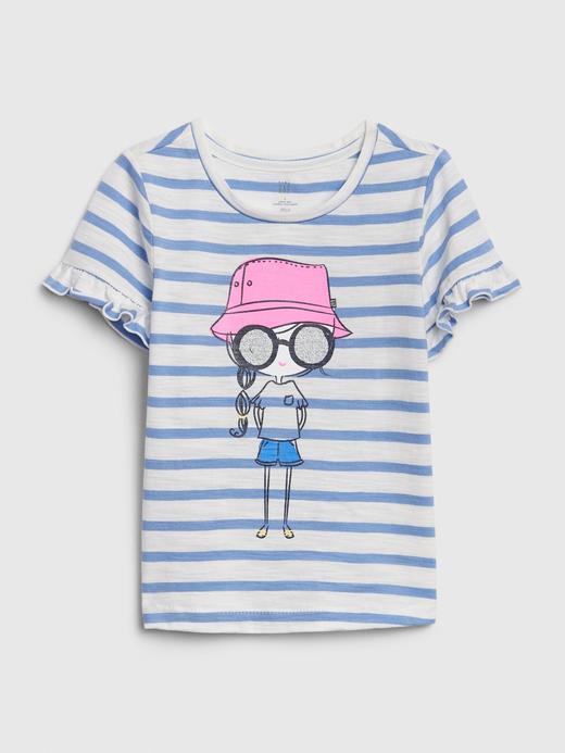 Kız Bebek Mavi Kısa Fırfırlı Kollu T-Shirt