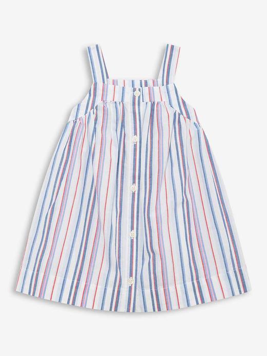 Kız Bebek Çok renkli Önden Düğmeli Çizgili Elbise