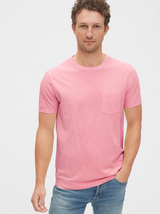 Erkek Pembe Vintage Cepli T-Shirt