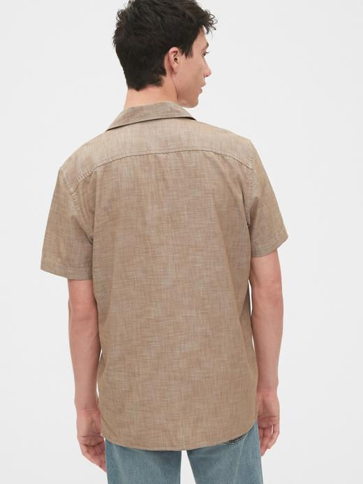 Erkek Bej Standard Fit Şambre Gömlek