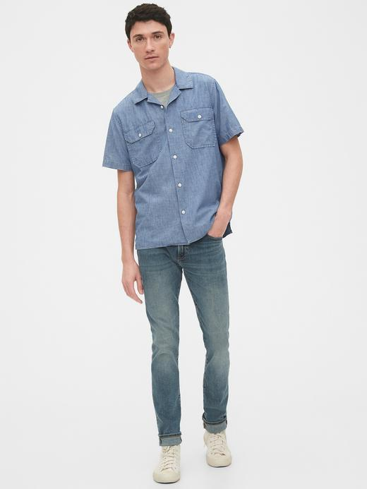 Erkek Mavi Standart Fit Şambre Gömlek