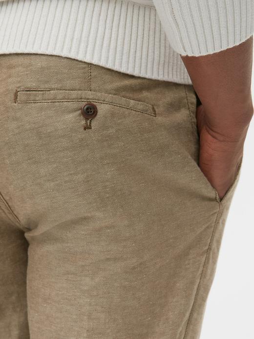 Erkek Bej Slim Fit Keten Khaki Pantolon