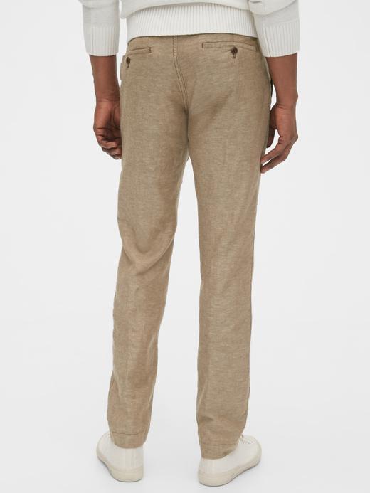 Erkek Lacivert Slim Fit Keten Khaki Pantolon