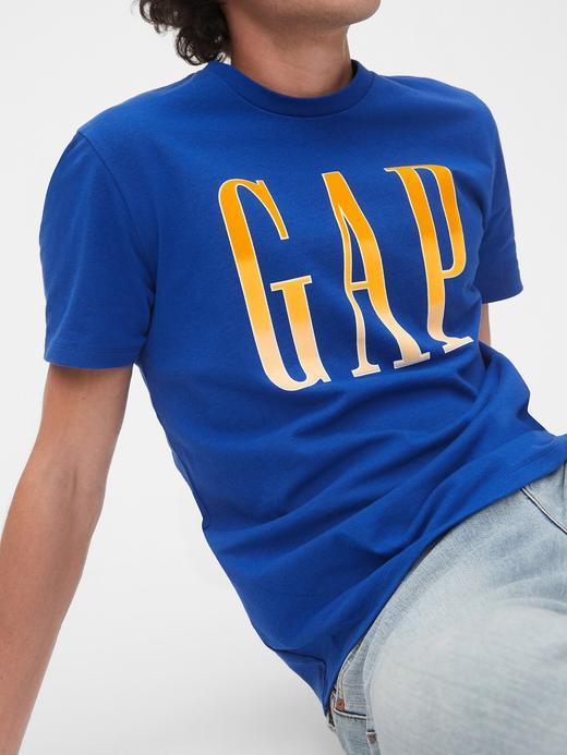 Erkek Mavi Gap Logo Kısa Kollu T-Shirt