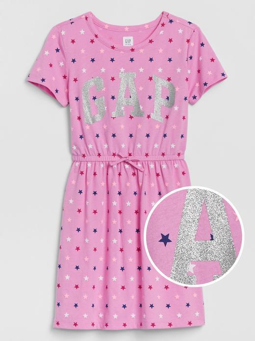 Kız Çocuk Pembe Gap Logo Kısa Kollu Elbise