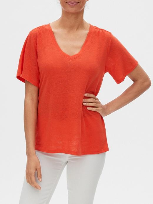 Kadın Kırmızı V Yaka Keten T-Shirt