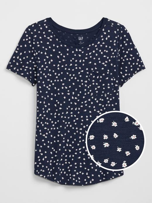 Kadın Lacivert Desenli Kısa Kollu T-Shirt