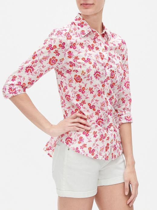 Kadın Beyaz Desenli Uzun Kollu Gömlek