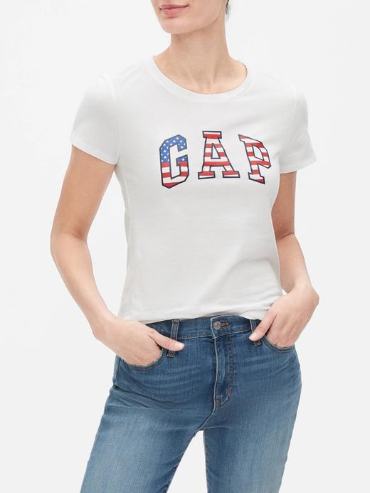 Kadın Beyaz Gap Logo Kısa Kollu T-Shirt