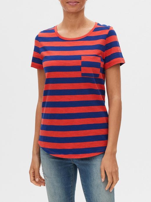 Kadın Kırmızı Çizgili Kısa Kollu T-Shirt