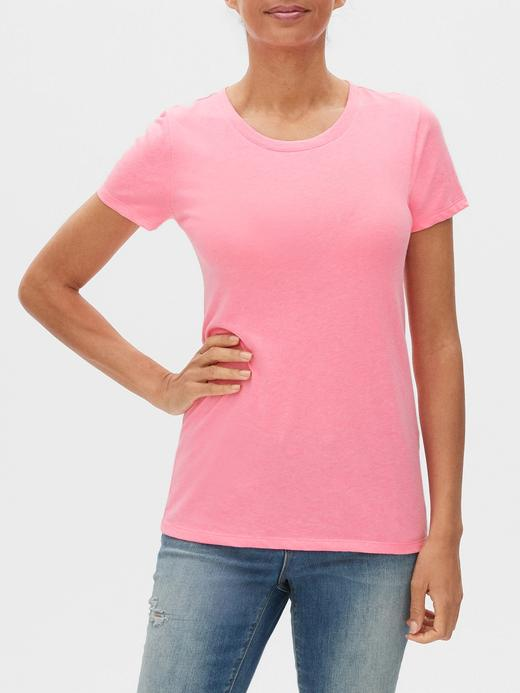 Kadın Pembe Sıfır Yaka T-Shirt