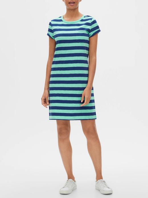 Kadın Mavi Cepli Kısa Kollu Elbise
