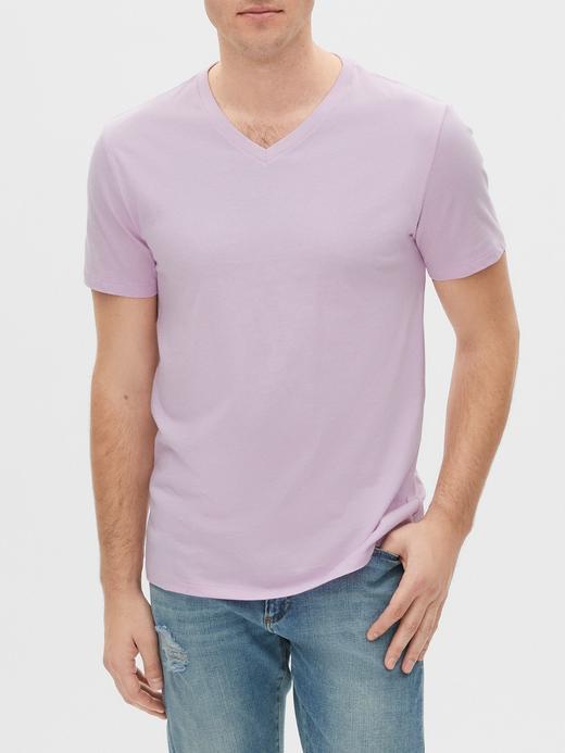 Erkek Mor V Yaka Kısa Kollu T-Shirt