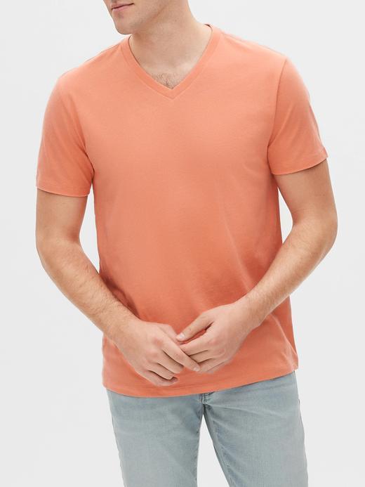 Erkek Turuncu V Yaka Kısa Kollu T-Shirt