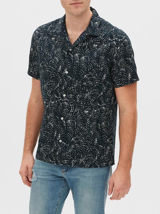 Erkek Siyah Desenli Kısa Kollu Gömlek