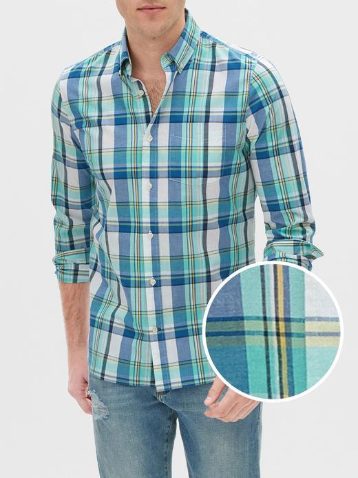 Erkek Mavi Slim Fit Uzun Kollu Poplin Gömlek