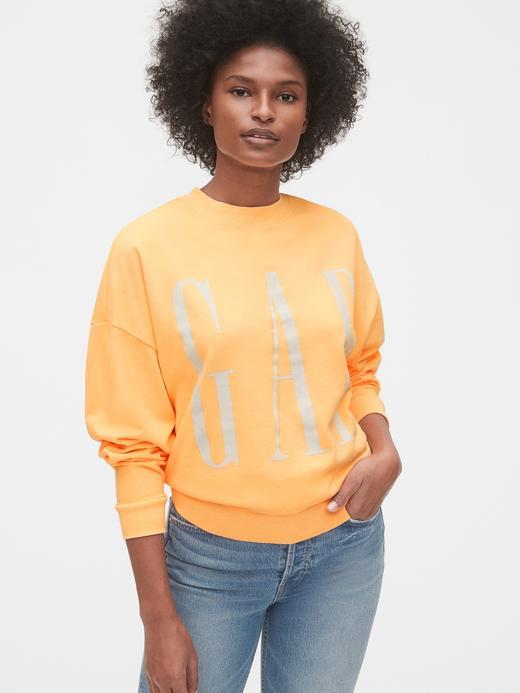 Kadın Turuncu Gap Logo Düz Yakalı Sweatshirt
