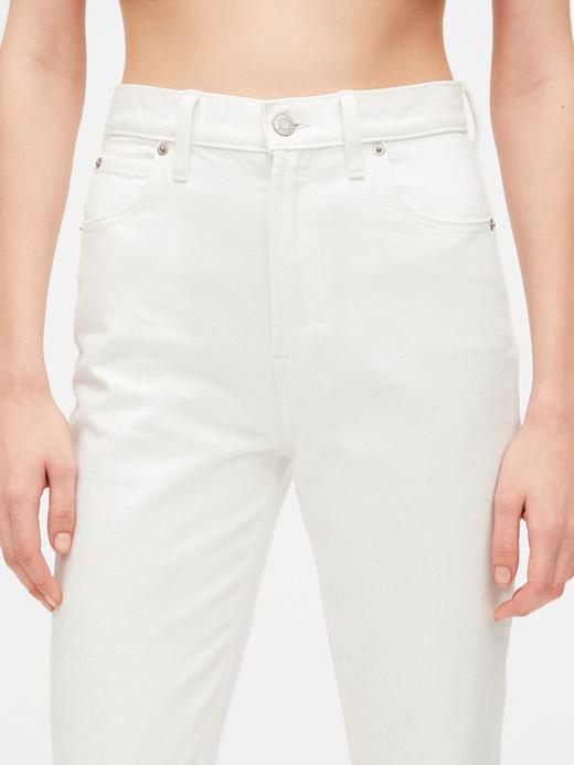 Kadın Beyaz High Rise Mom Jean Pantolon
