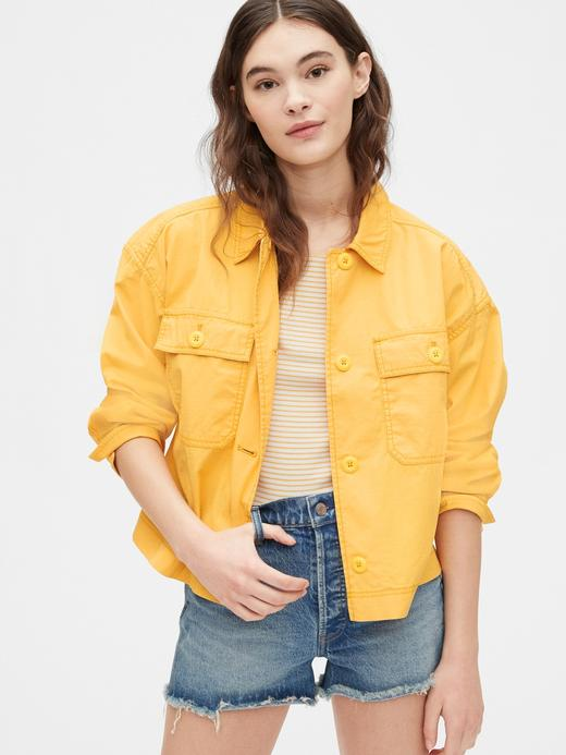 Kadın Sarı Cropped Utility Ceket