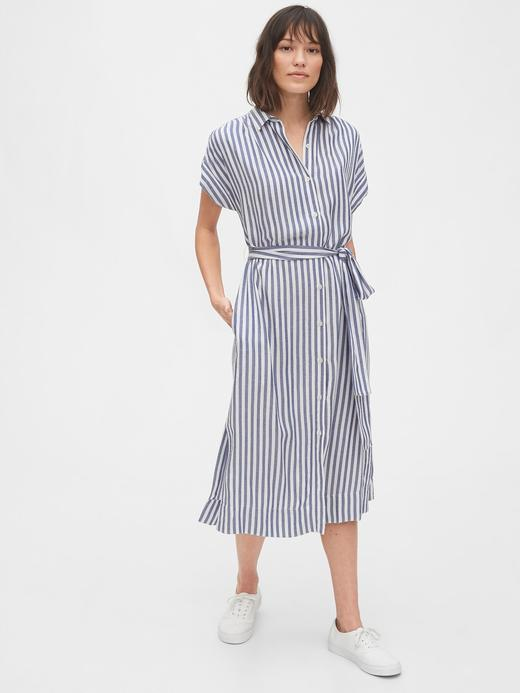Kadın Mavi Midi Gömlek Elbise