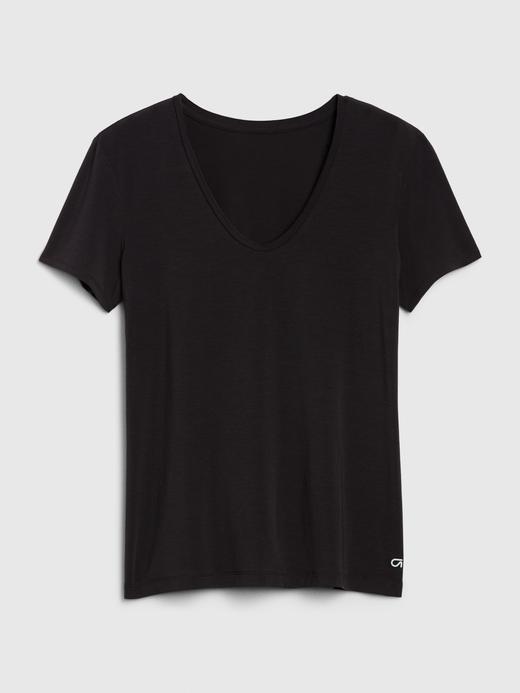 Kadın Siyah GapFit Nefes Alabilir T-Shirt