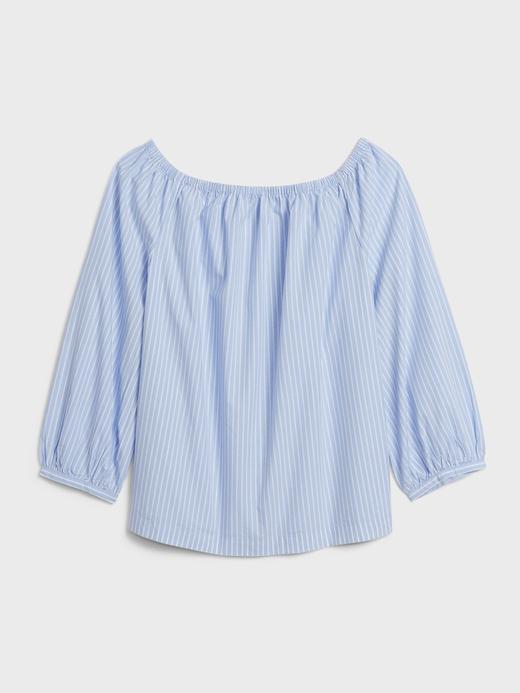 Kadın Mavi Omzu Açık Poplin Bluz
