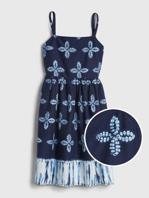 Kız Çocuk Lacivert Askılı Desenli Elbise