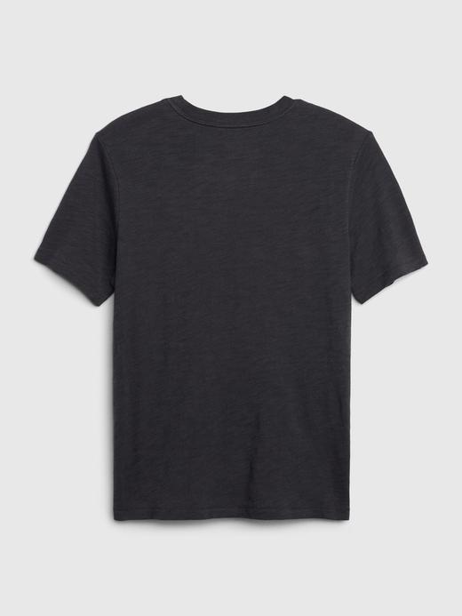 Erkek Çocuk Mavi Hologram Grafik Kısa Kollu T-Shirt