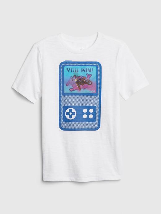 Erkek Çocuk Beyaz Hologram Grafik Kısa Kollu T-Shirt