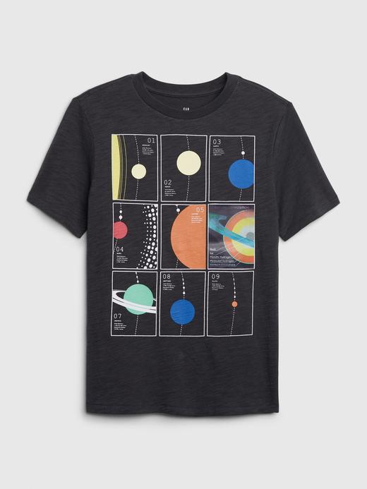 Erkek Çocuk Siyah Hologram Grafik Kısa Kollu T-Shirt