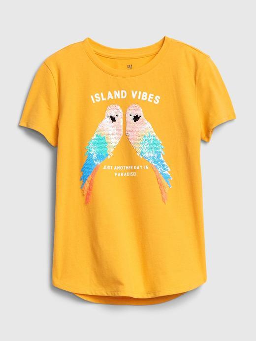 Kız Çocuk Sarı Değişen Pullu Kısa Kollu T-Shirt