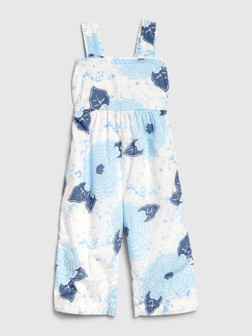 Kız Bebek mavi Çiçek Desenli Tulum