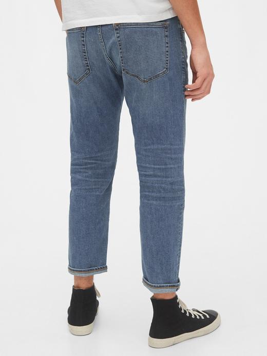 Erkek Mavi GapFlex Slim Taper Cropped Jean Pantolon
