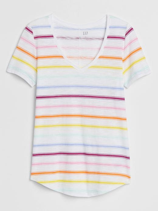 Kadın Çok renkli V Yaka Kısa Kollu T-Shirt