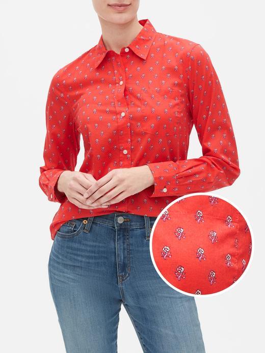 Kadın Kırmızı Desenli Uzun Kollu Gömlek