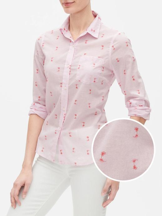 Kadın Pembe Desenli Uzun Kollu Gömlek