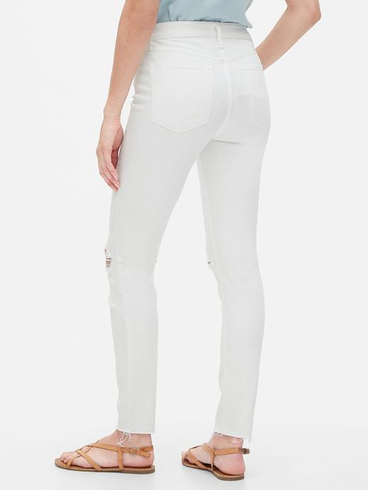 Kadın Beyaz High Rise Destructed Legging Jean Pantolon