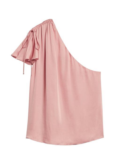 Kadın Pembe Tek Omuz Saten Bluz